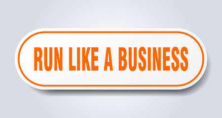 run like a business sign. rounded isolated sticker. white button