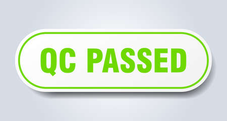 qc passed sign. rounded isolated sticker. white button