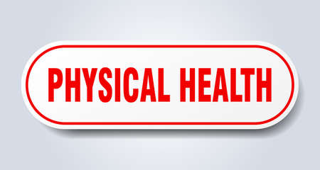 physical health sign. rounded isolated sticker. white button Иллюстрация