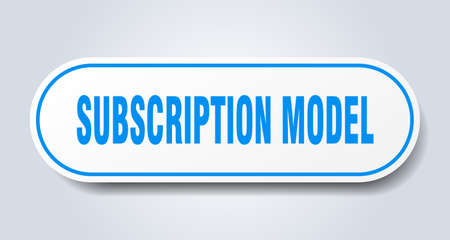 subscription model sign. rounded isolated sticker. white button 矢量图像