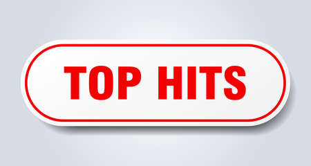 top hits sign. rounded isolated sticker. white button Ilustración de vector