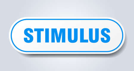 stimulus sign. rounded isolated sticker. white button