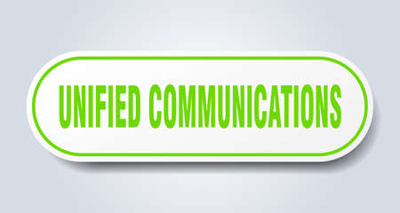 unified communications sign. rounded isolated sticker. white button Illustration