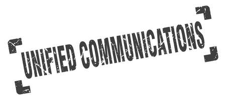 unified communications stamp. square grunge sign on white background Çizim