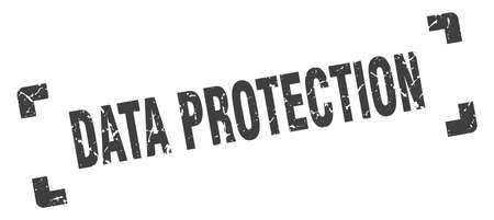 data protection stamp. square grunge sign on white background