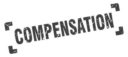compensation stamp. square grunge sign on white background