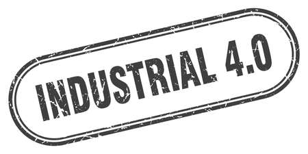 industrial 4.0 stamp. rounded grunge sign on white background