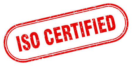 iso certified stamp. rounded grunge sign on white background