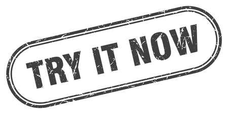 try it now stamp. rounded grunge sign on white background Vektoros illusztráció