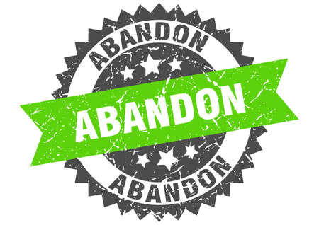 abandon stamp. round grunge sign with ribbon