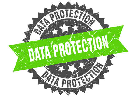 data protection stamp. round grunge sign with ribbon