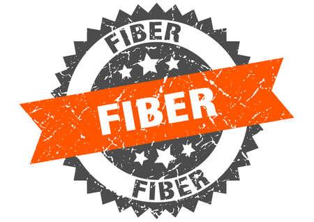 fiber stamp. round grunge sign with ribbon Vettoriali