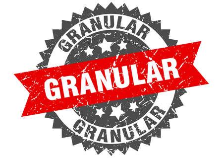 granular stamp. round grunge sign with ribbon