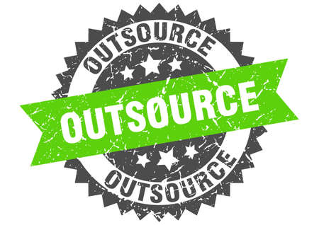 outsource stamp. round grunge sign with ribbon Illustration