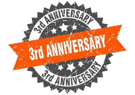 3rd anniversary stamp. round grunge sign with ribbon Иллюстрация