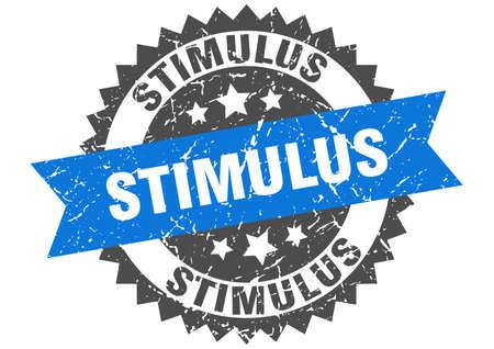 stimulus stamp. round grunge sign with ribbon