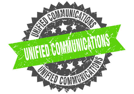 unified communications stamp. round grunge sign with ribbon