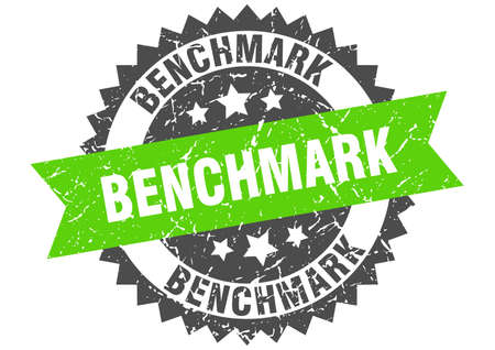 benchmark stamp. round grunge sign with ribbon