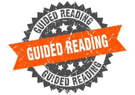 guided reading stamp. round grunge sign with ribbon