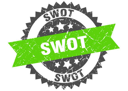 swot stamp. round grunge sign with ribbon