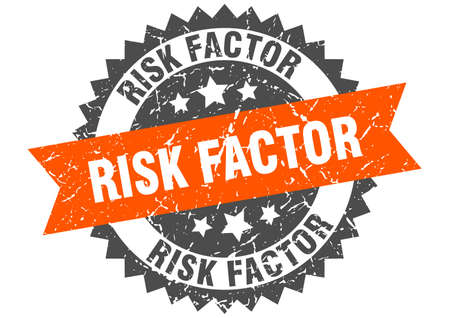 risk factor stamp. round grunge sign with ribbon 矢量图像