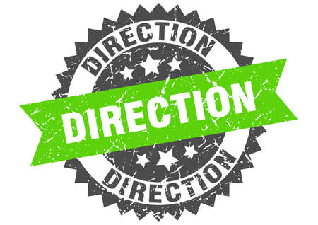 direction stamp. round grunge sign with ribbon