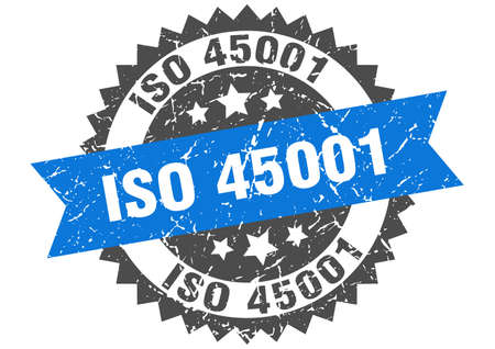 iso 45001 stamp. round grunge sign with ribbon