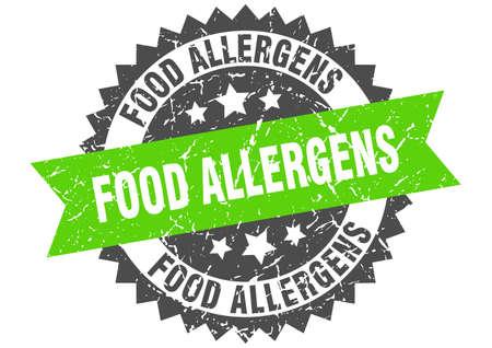 food allergens stamp. round grunge sign with ribbon