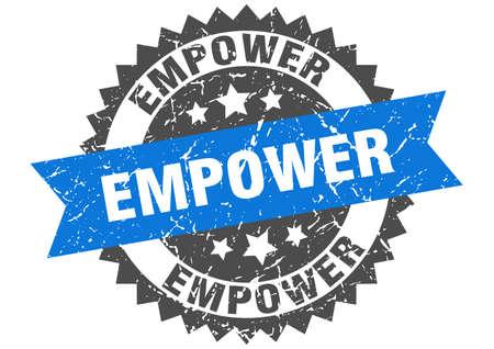 empower stamp. round grunge sign with ribbon