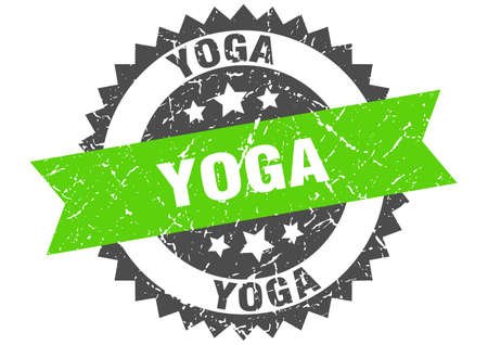 yoga stamp. round grunge sign with ribbon
