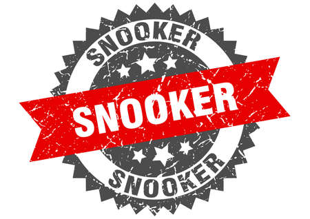 snooker stamp. round grunge sign with ribbon 向量圖像