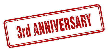 3rd anniversary stamp. square grunge sign isolated on white background