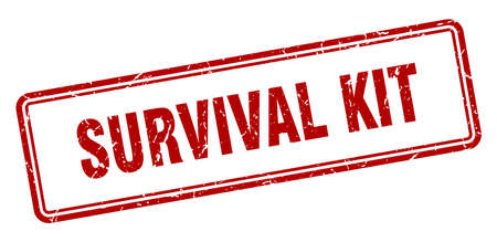 survival kit stamp. square grunge sign isolated on white background
