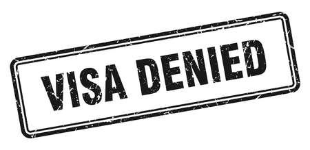 visa denied stamp. square grunge sign isolated on white background