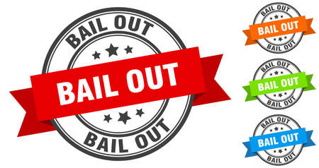 bail out stamp. round band sign set. ribbon label