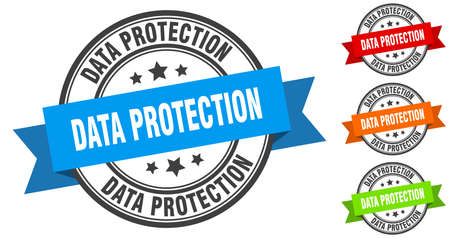 data protection stamp. round band sign set. ribbon label