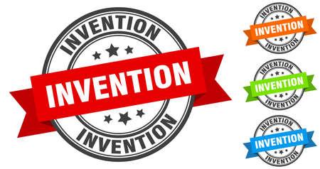 invention stamp. round band sign set. ribbon label Ilustracja