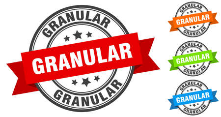granular stamp. round band sign set. ribbon label