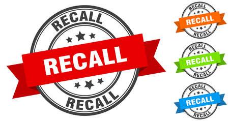 recall stamp. round band sign set. ribbon label