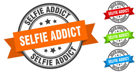 selfie addict stamp. round band sign set. ribbon label