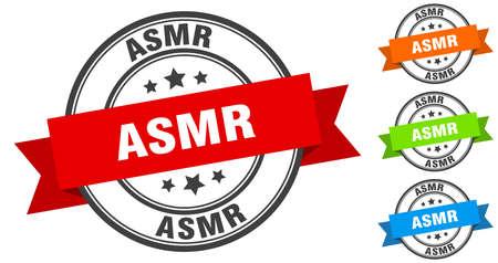 asmr stamp. round band sign set. ribbon label
