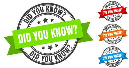 did you know stamp. round band sign set. ribbon label Illusztráció