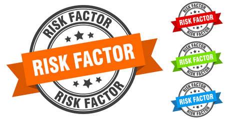 risk factor stamp. round band sign set. ribbon label