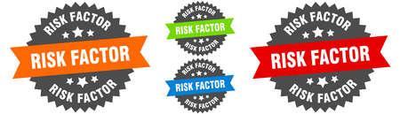risk factor sign. round ribbon label set. Stamp