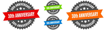 30th anniversary sign. round ribbon label set. Stamp 向量圖像