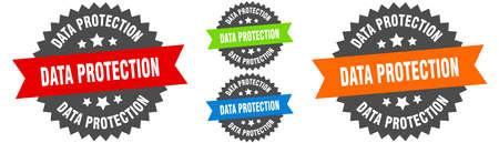 data protection sign. round ribbon label set. Stamp 向量圖像