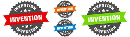 invention sign. round ribbon label set. Stamp Ilustracja