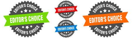 editor's choice sign. round ribbon label set. Stamp Stock Illustratie