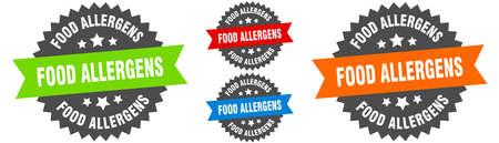 food allergens sign. round ribbon label set. Stamp