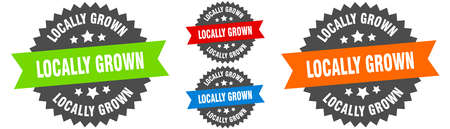 locally grown sign. round ribbon label set. Stamp